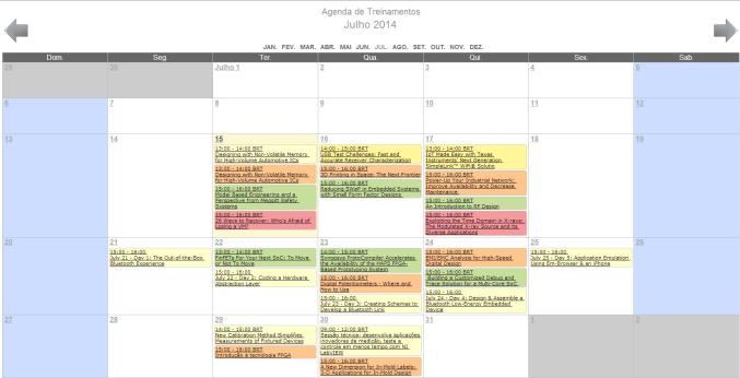 Treinamentos - Agenda 14 a 18 Julho