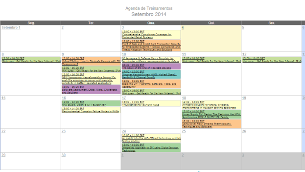 Agenda de Treinamentos para Setembro