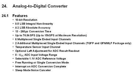 ADC-especificações