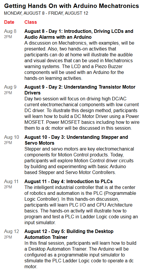 Arduino Mecatronics Details